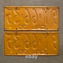 1930 California license plate pair 9Y 66 35 black on orange