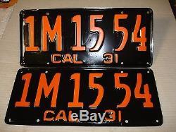 1931 California Car license Plate pair DMV CLEAR RESTORED OLD TAG 1 M 15 54