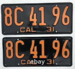 1931 California License Plates Pair DMV Clear Professionally Restored