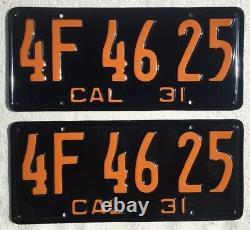 1931 California License Plates Pair Show Quality Restoration DMV Clear