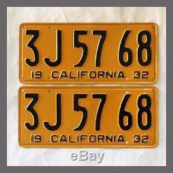 1932 CALIFORNIA License Plates Pair Repainted DMV Clear YOM