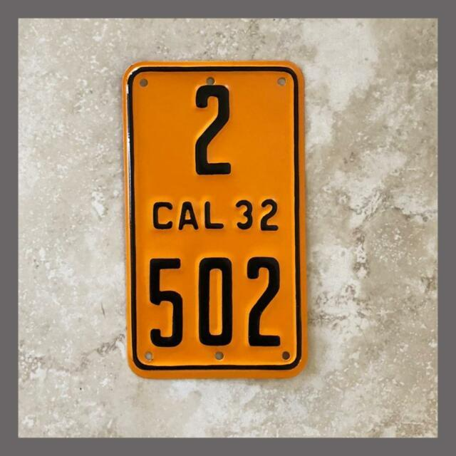 1932 California Motorcycle License Plate Original Dmv Clear Yom