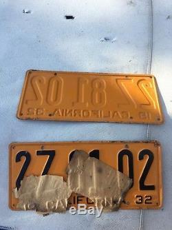 1932 California License Plate PAIR 2Z 81 02 NOS UNUSED RARE