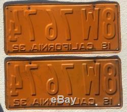 1932 California License Plates Pair DMV Clear Clean Originals