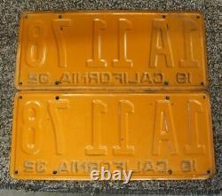 1932 California Yellow and Black License Plates Pair CA Vintage Original