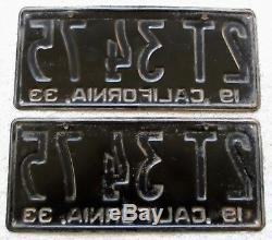 1933 California License Plate Pair # 2T 34 75 DMV Clear