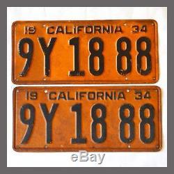 1934 California License Plates Pair Original DMV Clear YOM CA