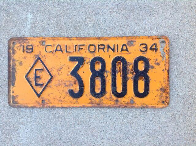 1934 California State Patrol Diamond E Exempt License Plate Police