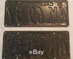 1935 California License Plate Pair 6K 69 57 YOM DMV Clear