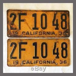 1936 CALIFORNIA License Plates Pair Original DMV Clear YOM