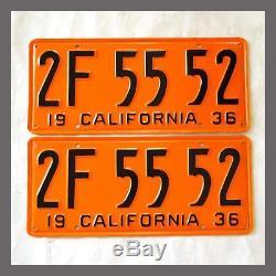 1936 California License Plates Pair Restored DMV Clear YOM CA Vintage