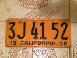 1936 California license plate 3J4152
