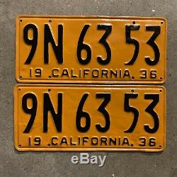 1936 California license plate pair 9N 63 53 YOM DMV clear Ford Chevy Packard