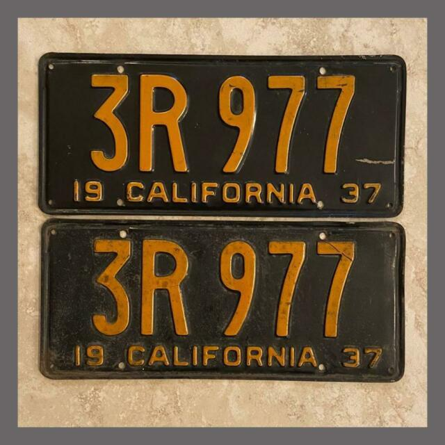 1937 California License Plates Pair Dmv Clear Yom Original