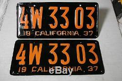 1937 California Car license Plate pair DMV CLEAR RESTORED OLD TAG 4W 33 03