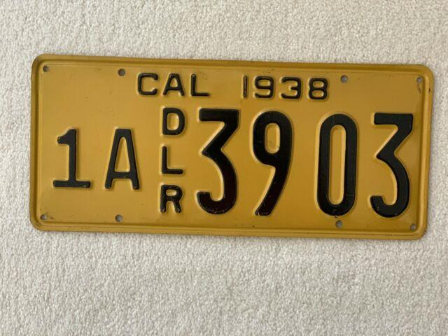 1938 California Dealer License Plate-restored 1a Dlr 3903