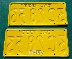 1938 California License Plate Pair 3C 28 53 SUPER CLEAN