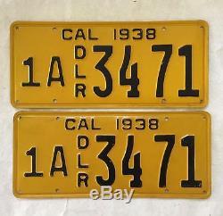 1938 DEALER CALIFORNIA License Plates Pair Original Near NOS