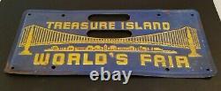 1939 1940 California Vintage Worlds Fair Treasure Island License Plate Insert