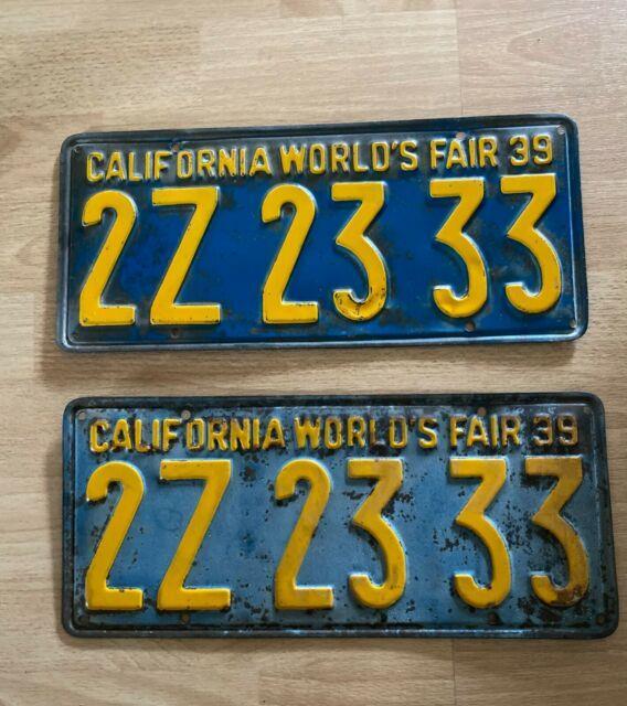 1939 California World's Fair License Plates (pair) Year Of Make Program