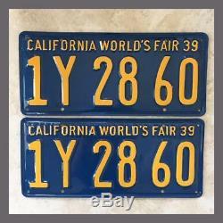 1939 California Car License Plates Pair Restored DMV Clear YOM Vintage