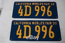 1939 California Car license Plate pair DMV CLEAR RESTORED OLD TAG 4D 996