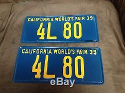 1939 California License Plate 1939 Worlds Fair Restored Dmv Clear Low 4 Digits