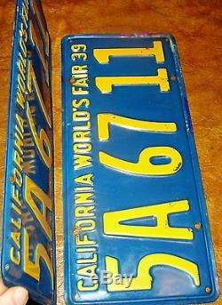 1939 California Plates Mercury Plymouth Olds Chevy Hudson Nash Buick Lincoln Reo