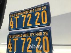 1939 California World Fair License Plates Pair Near Mint