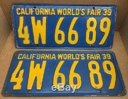 1939 DMV Clear Worlds Fair (california) 42 A 421 License Plate-vintage-original