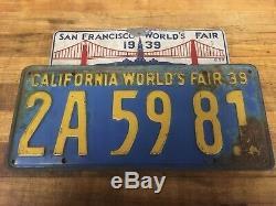 1939 San Francisco Worlds Fair Topper California Worlds Fair 39 License Plate