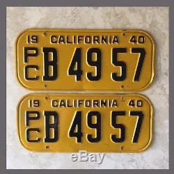 1940 CALIFORNIA Commercial Truck License Plates Pair Original DMV Clear YOM