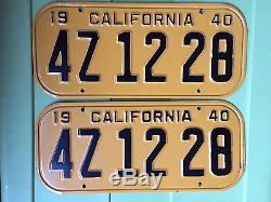 1940 CALIFORNIA LICENSE PLATES PAIR Untouched Beauties