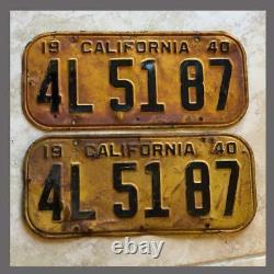 1940 CALIFORNIA License Plates Pair Original DMV Clear YOM