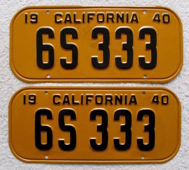 1940 California License Plate Pair. # 6s 333, Dmv Clear