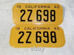 1940 California License Plate Pair, DMV Clear Restored 2z-698 Rare