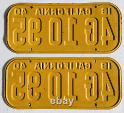 1940 California License Plates Pair, DMV Clear Real Nice Original