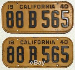 1940 California License Plates Pair, DMV Clear, Straight & Original
