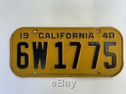 1940 California license plates Vintage Pair