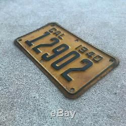 1940 California motorcycle license plate 12902 YOM DMV clear Harley Indian