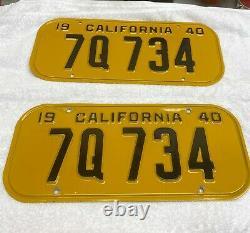 1940 LICENSE PLATES PLUS FRAME WATERS FORD SF DMV Clear RARE 5 DIGIT 7Q 734
