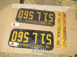 1941 1942 V California License Plate Plates PAIR 51L 560 Ford Chevy VICTORY