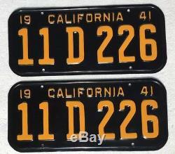 1941,42,43 California License Plates Pair Professionally Restored DMV Clear