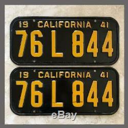 1941 CALIFORNIA Passenger Car License Plates Pair Original DMV Clear YOM