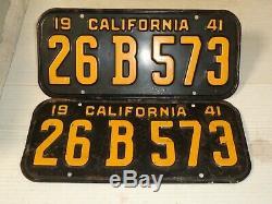 1941 California CAR license Plate pair ORIGINAL RARE 6 DIGITS 26 B 573