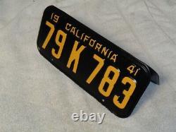 1941 California License Plate Pair, Car DMV Clear Restored Rare 79 K 783 Jrs