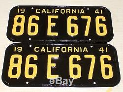 1941 California License Plate Pair, Restored, Rare DMV Clear 86 E 676