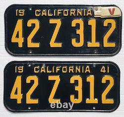 1941 California License Plates Pair DMV Clear Nice Originals