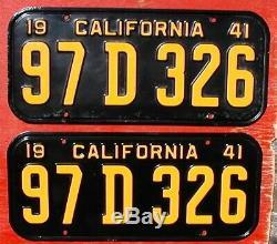 1941 California Nice Original PAIR 97 D 326 License Plates