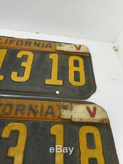 1941 California Pair DMV Clear License Plate Vintage Antique Ford Chevy WW2